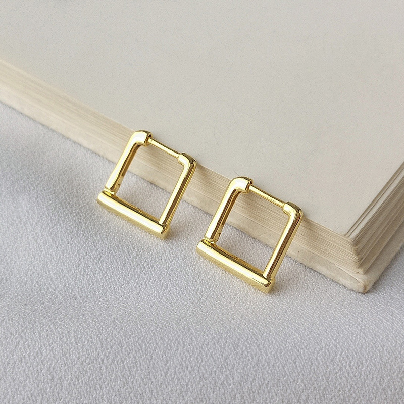 Geometric Sterling Silver Plated Gold Earring