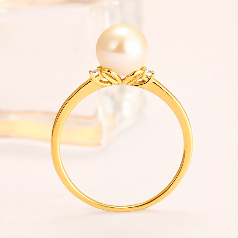 Simple Gold Pearl Round Sterling Silver Ring-TL-Juri Elle