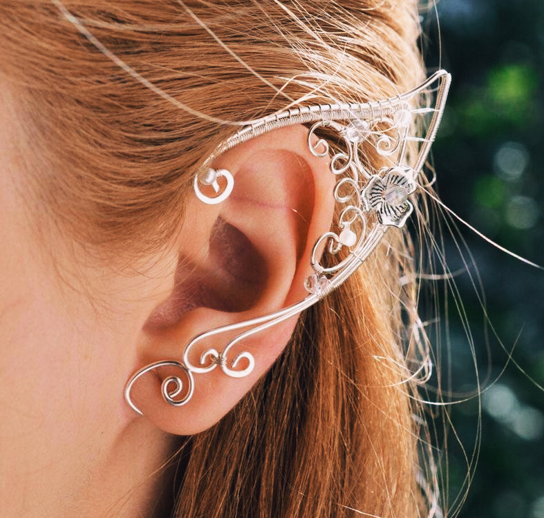 Bohemian Floral Elf White Copper Ear Cuff