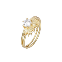 Peacock Round Cut Sterling Silver Plated Gold Ring