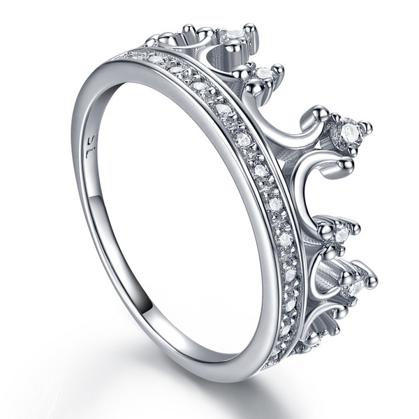 Queen Crown Round Sterling Silver Ring-TL-Juri Elle
