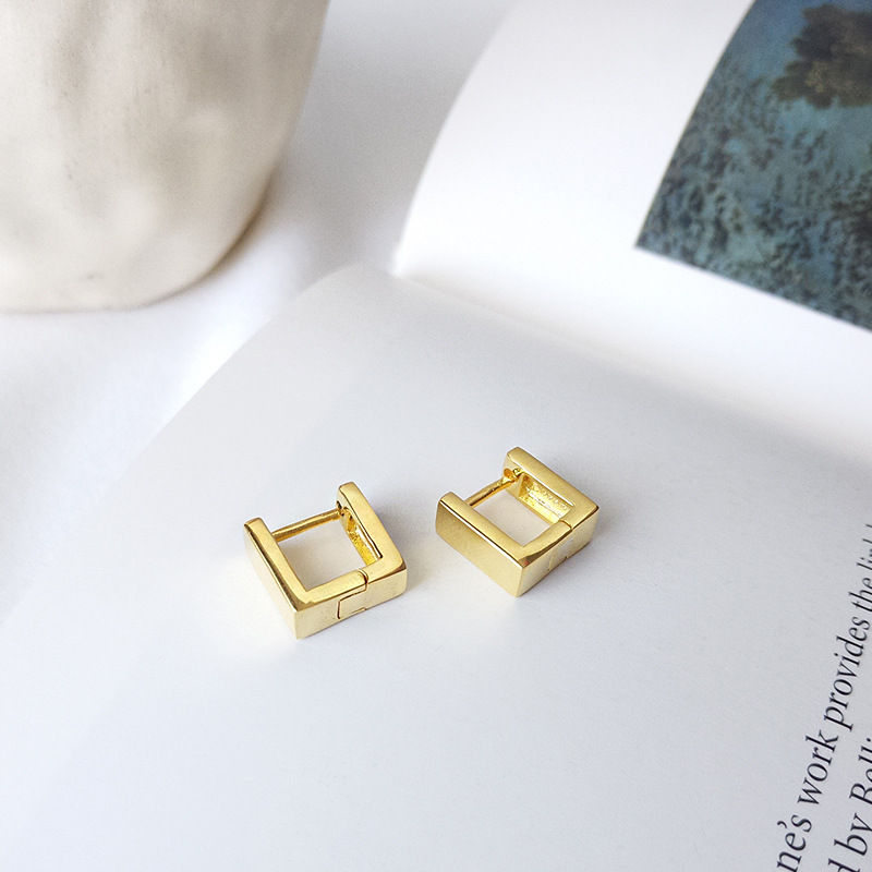 Regular Solid Geometry Sterling Silver Stud Earring