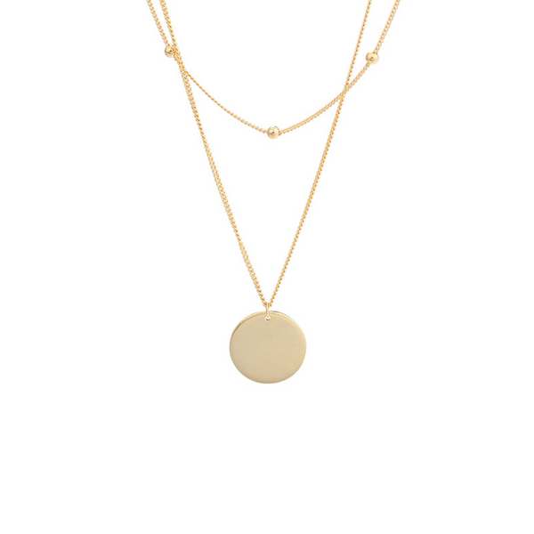 Simple Glossy Round Sterling Silver Plated Gold Necklace