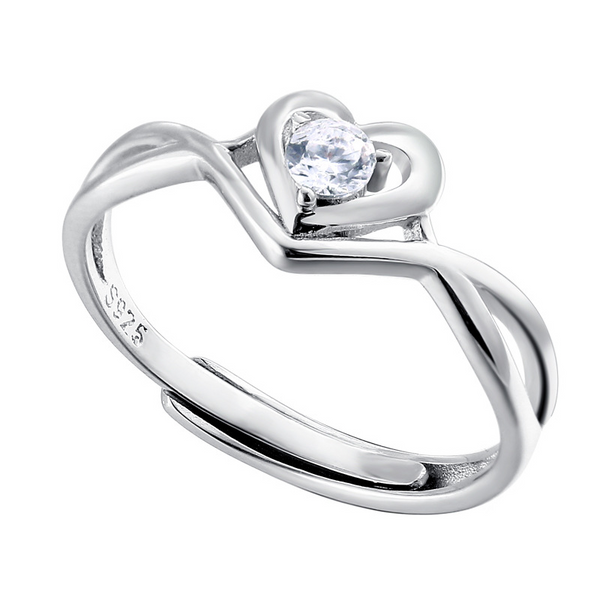 Heart Love Round Cut Sterling Silver Ring For Women-TL-Juri Elle