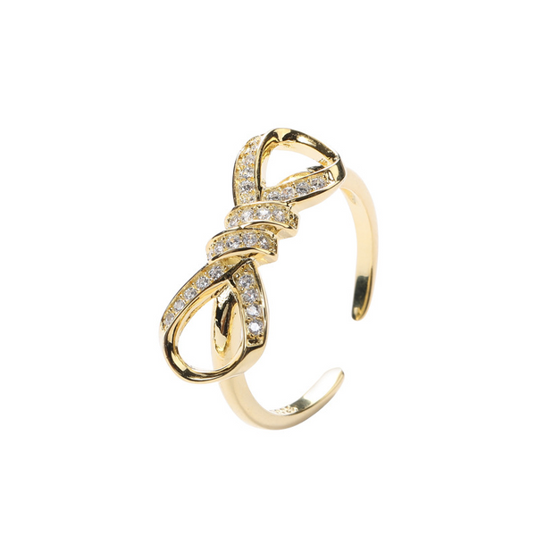 Bow-knot Round Cut Sterling Silver Plated Gold Ring