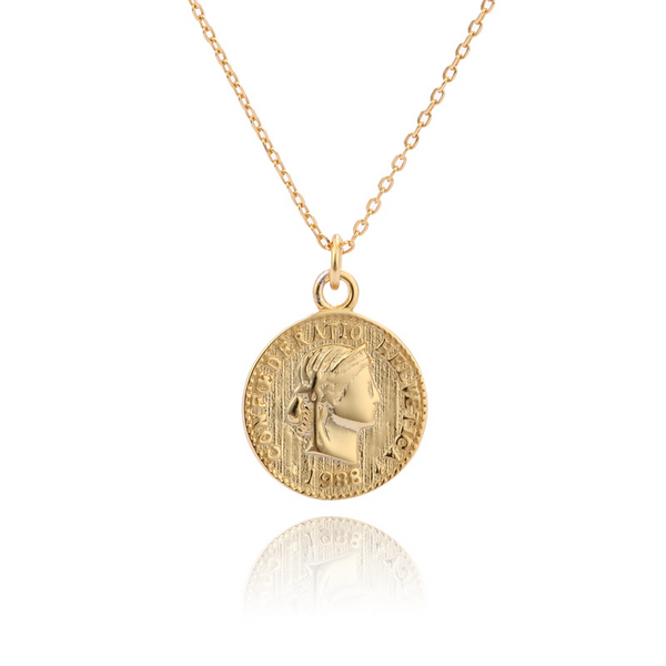 Portrait Coin Sterling Silver Plated Gold Necklace