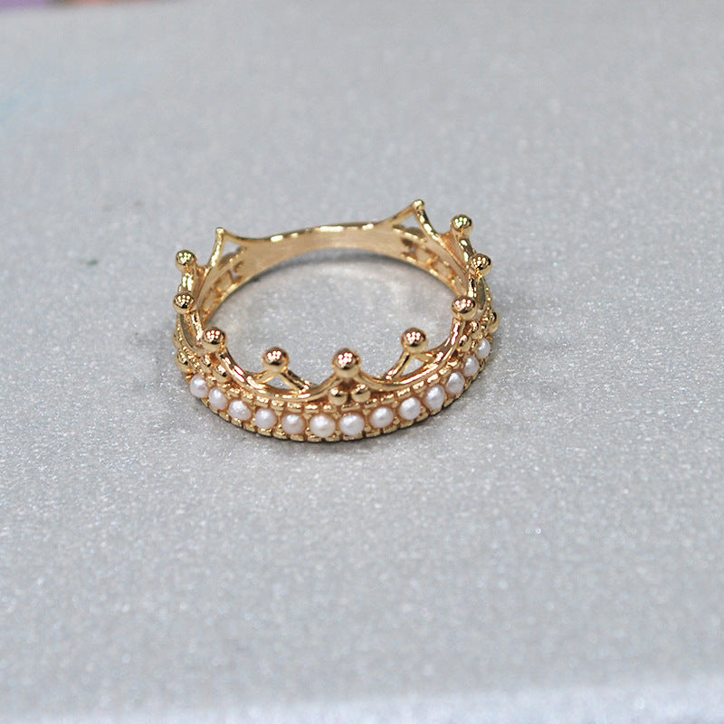 Crown Shape of Sterling Silver Ring With Pearls-DL-Juri Elle