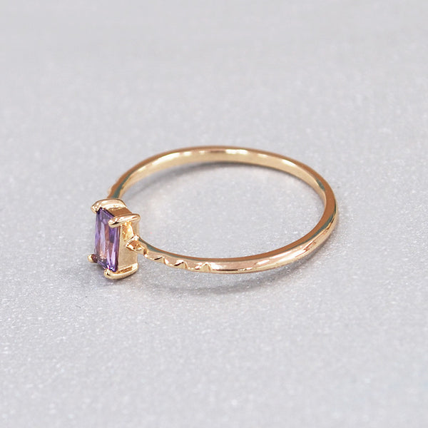 Single Purple Diamond Sterling Silver Ring-DL-Juri Elle