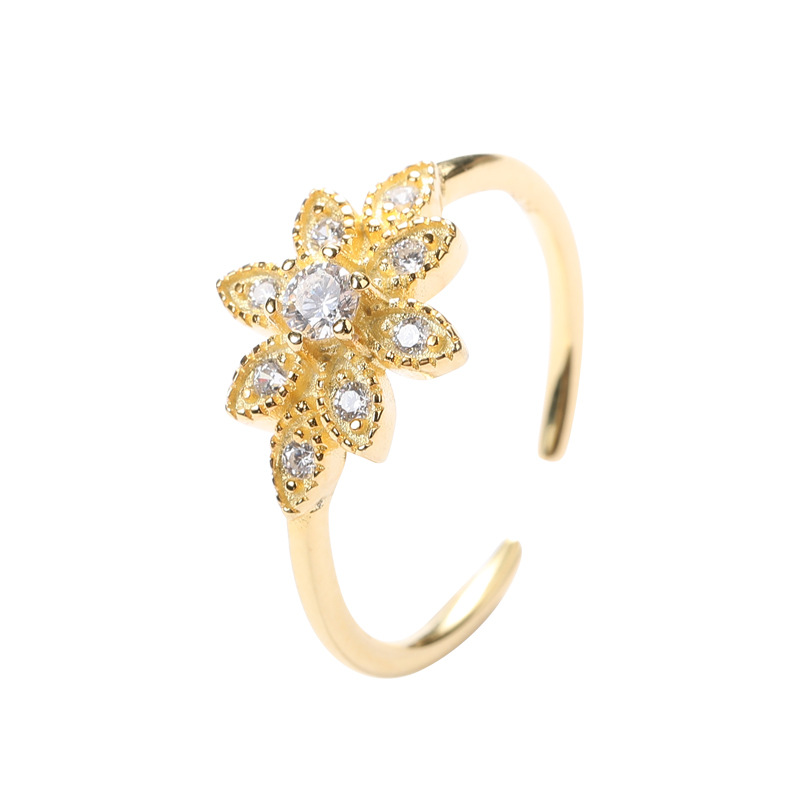 Flower Adjustable Round Cut Sterling Silver Plated Gold Ring