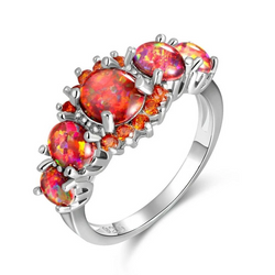 Stunning Orange Fire Opal Garnet Silver Ring