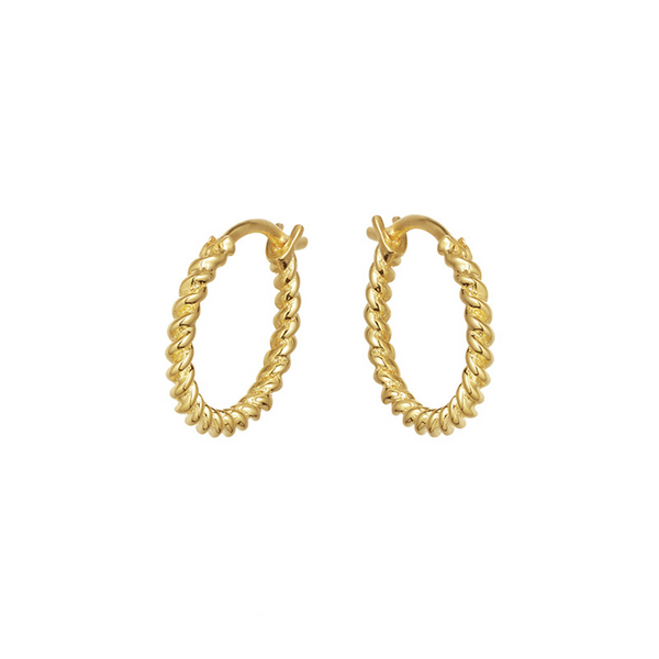 Simple Twist Sterling Silver Plated Gold Earring