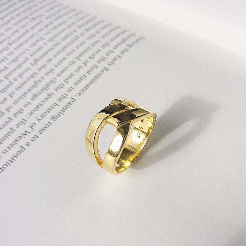 Golden Infinity Sterling Silver Plated Gold Ring
