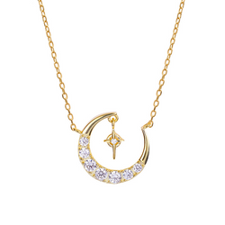 Bright Moon Round Cut Sterling Silver Plated Gold Necklace