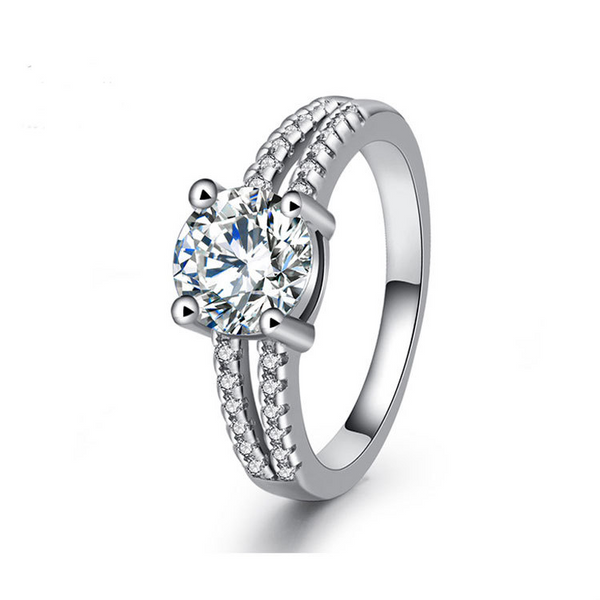 Classic Round Cut Sterling Silver Ring-TL-Juri Elle