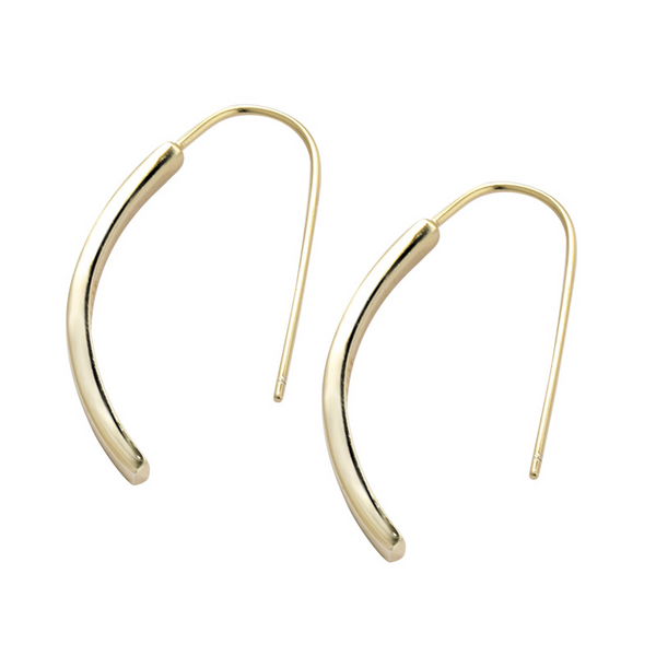U-shaped Sterling Silver Plated Gold Stud Earring