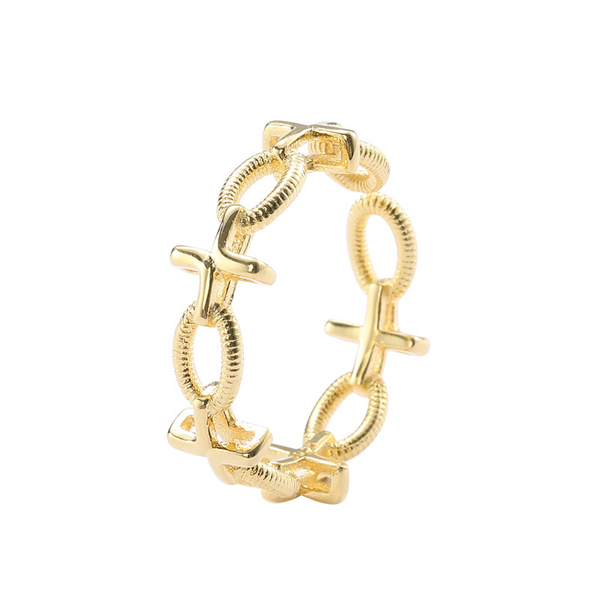 Cross Twist Sterling Silver Plated Gold Ring