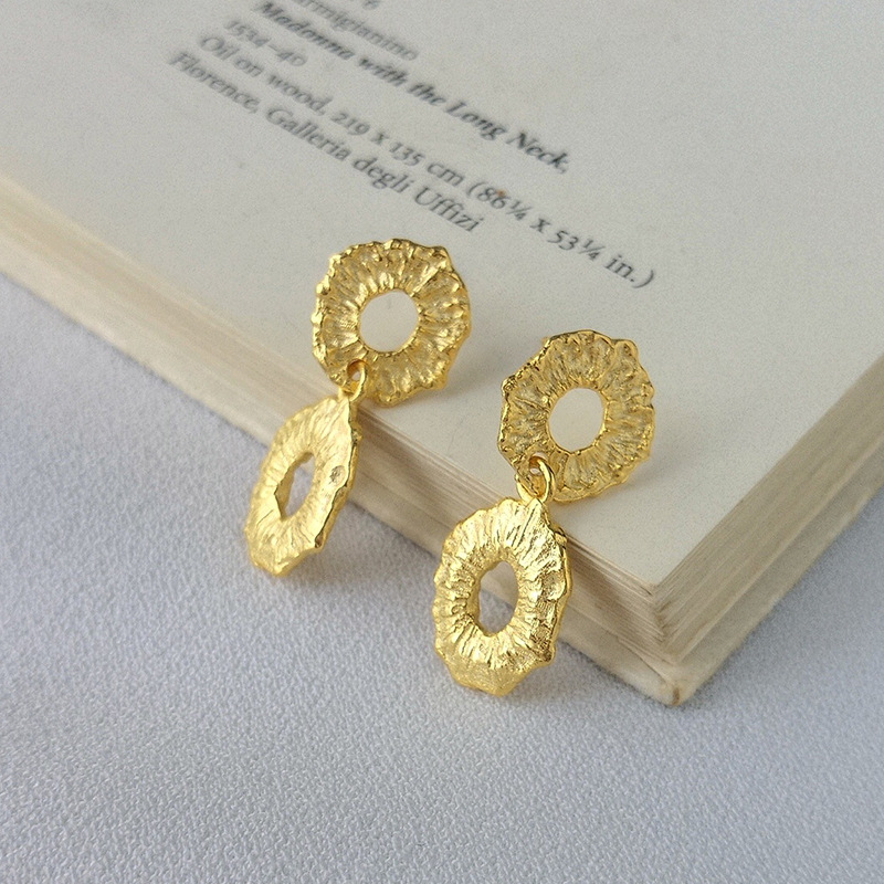 Double Circle Sterling Silver Plated Gold Earring
