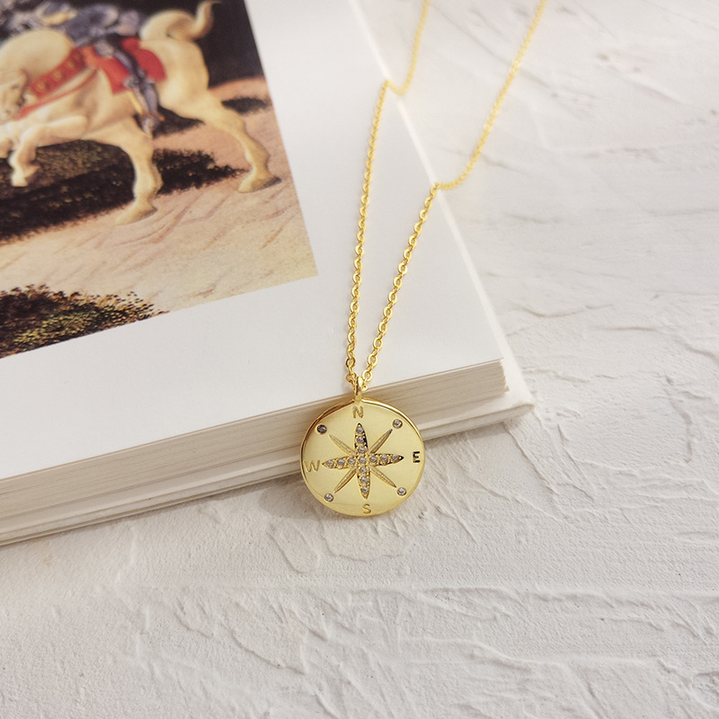 Compass Round Cut Sterling Silver Plated Gold Necklace