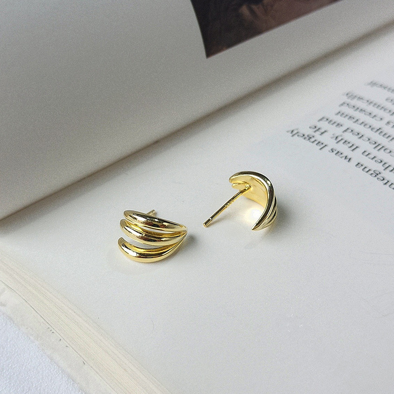 Irregular Spiral Sterling Silver Plated Gold Stud Earring