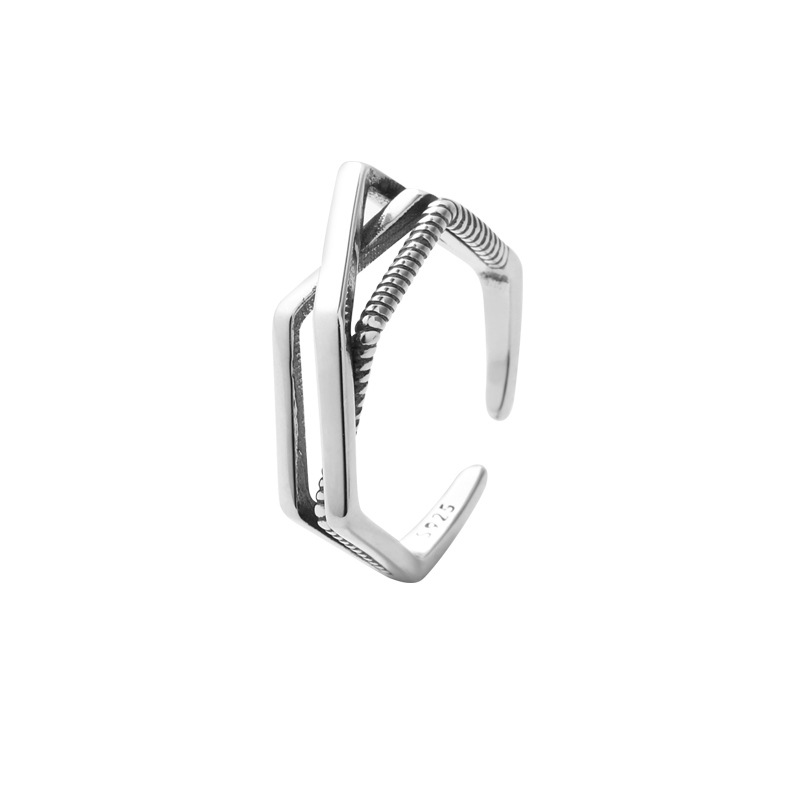 Diamond Woven Sterling Silver Ring