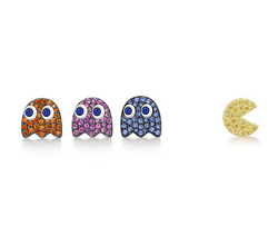 Mini Pacman Round Cut Sterling Silver Earring