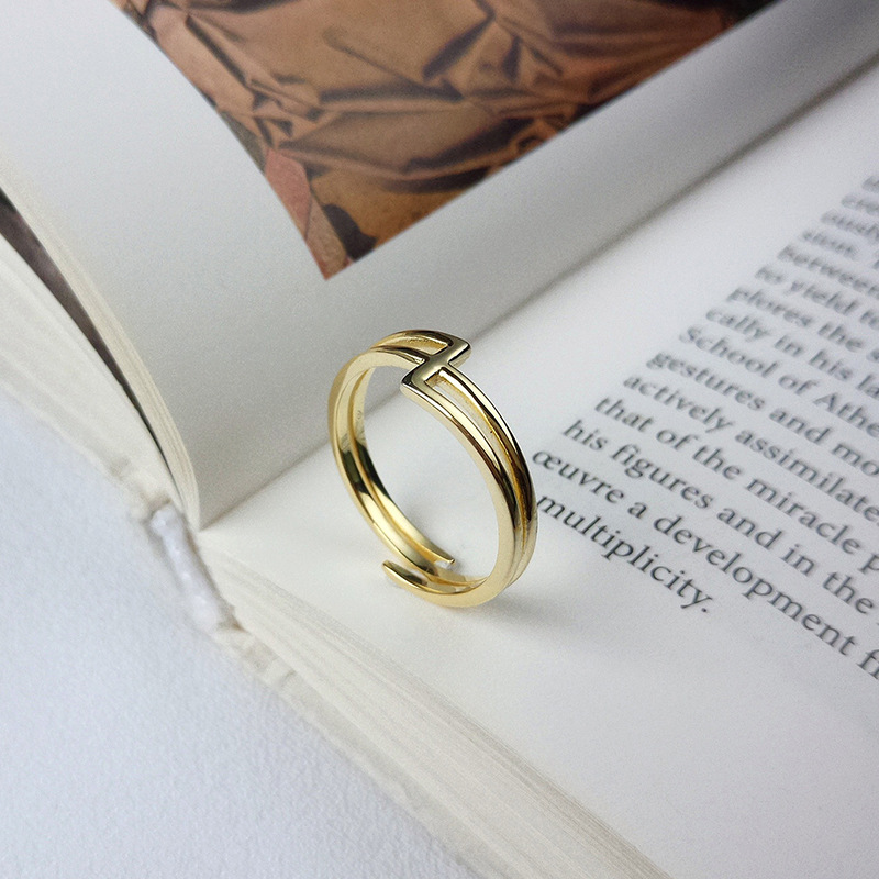 Interlaced Stackable Sterling Silver Plated Gold Ring