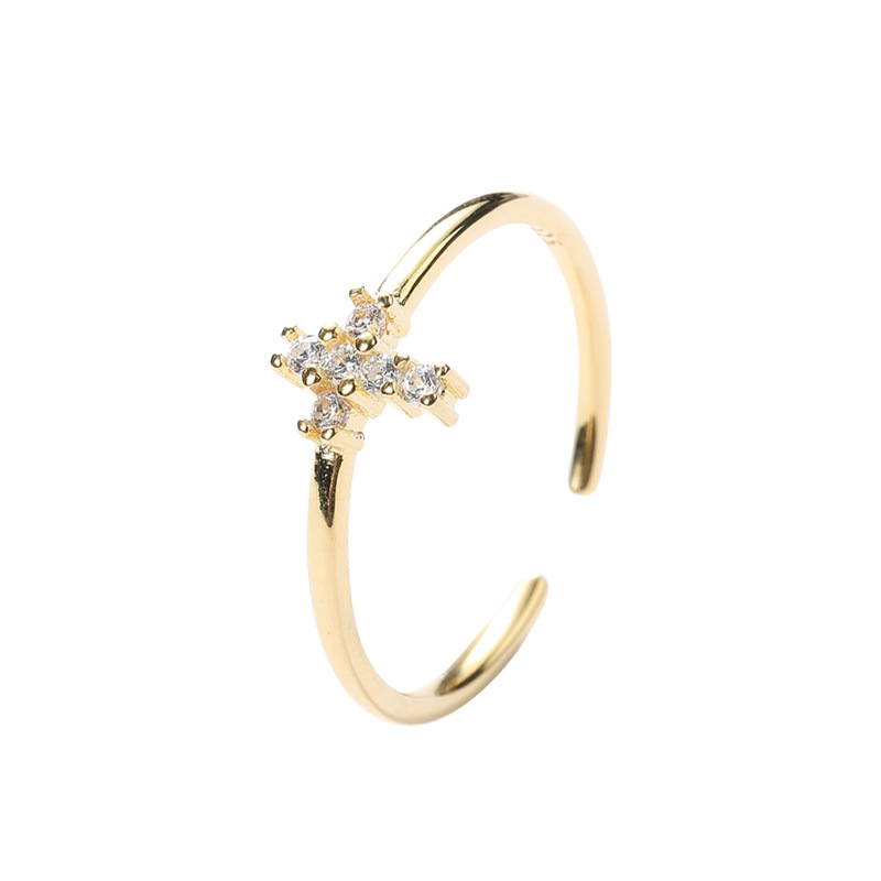 Cross Stackable Round Cut Sterling Silver Plated Gold Ring