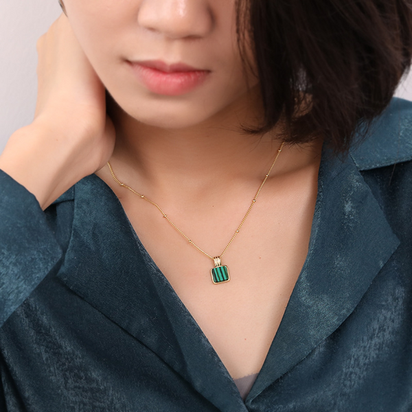 Classic Malachite Sterling Silver Plated Gold Necklace