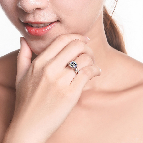 Flower Cushion Cut Sterling Silver Ring-ZX-Juri Elle