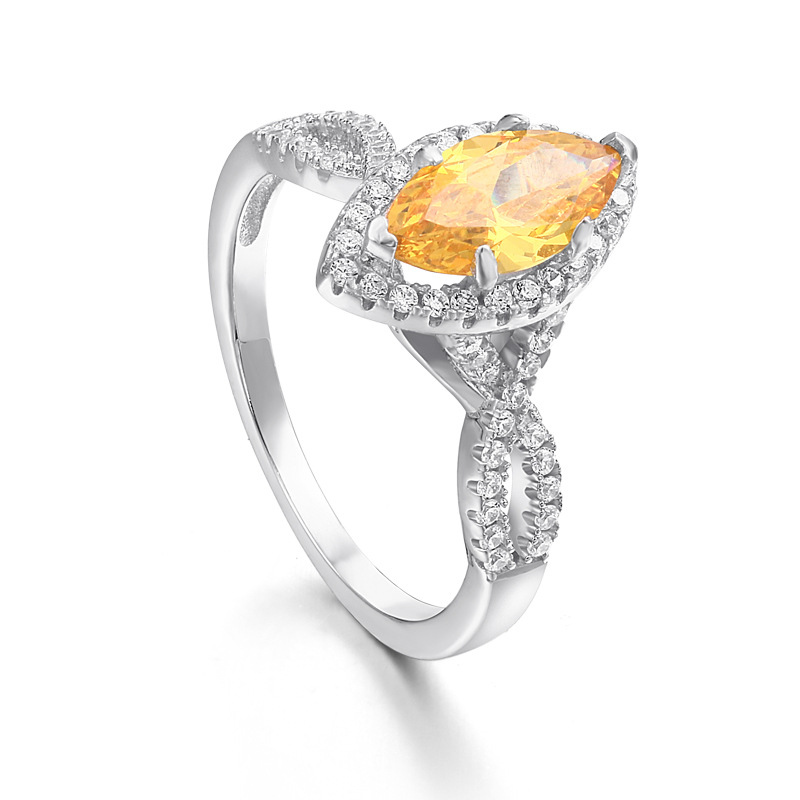 Halo Marquise Cut Sterling Silver Ring-TL-Juri Elle