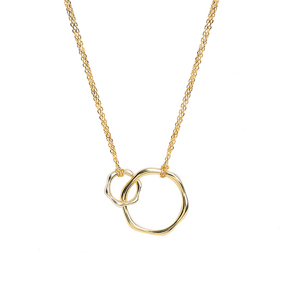 Geometric Interlocking Double-ring Sterling Silver Plated Gold Necklace