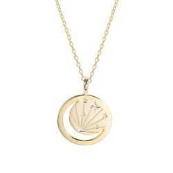 Hollow Light Round Cut Sterling Silver Plated Gold Necklace