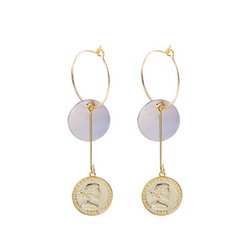 Multi-circle Portrait Coin Sterling Silver Plated Gold Stud Earring