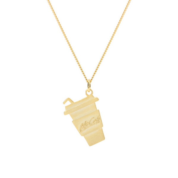 Cola Bottle Sterling Silver Plated Gold Necklace