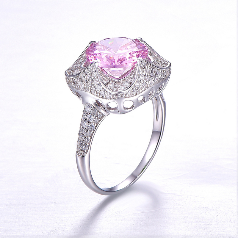 Flower Round Cut Sterling Silver Ring-ZX-Juri Elle