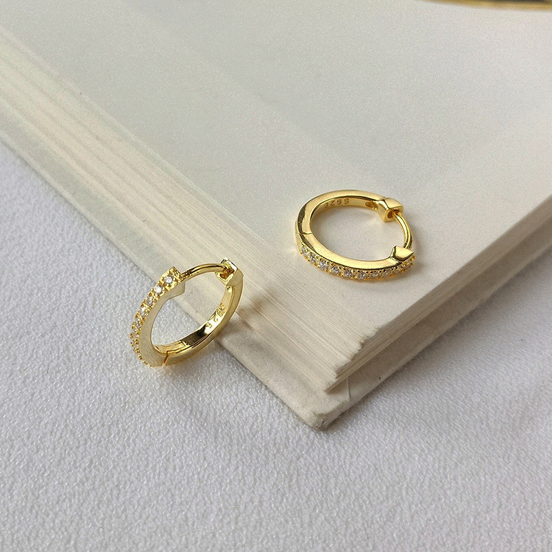 Elegant Vintage Round Cut Sterling Silver Plated Gold Earring