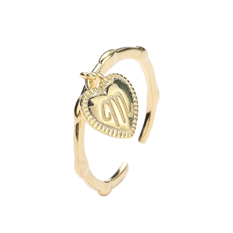 Letter M Heart Sterling Silver Plated Gold Ring