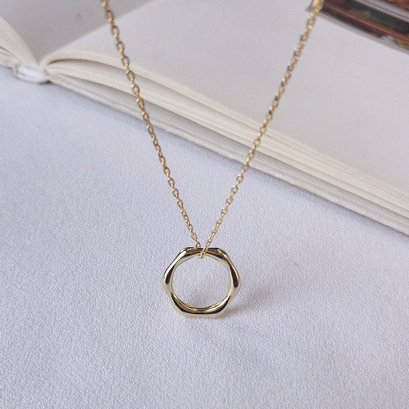 Regular Ring Sterling Silver Plated Gold Necklace