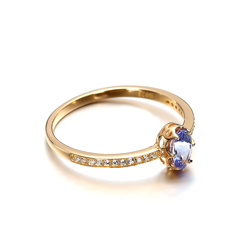 Single Tanzanite Sterling Silver Ring with side diamonds-DL-Juri Elle