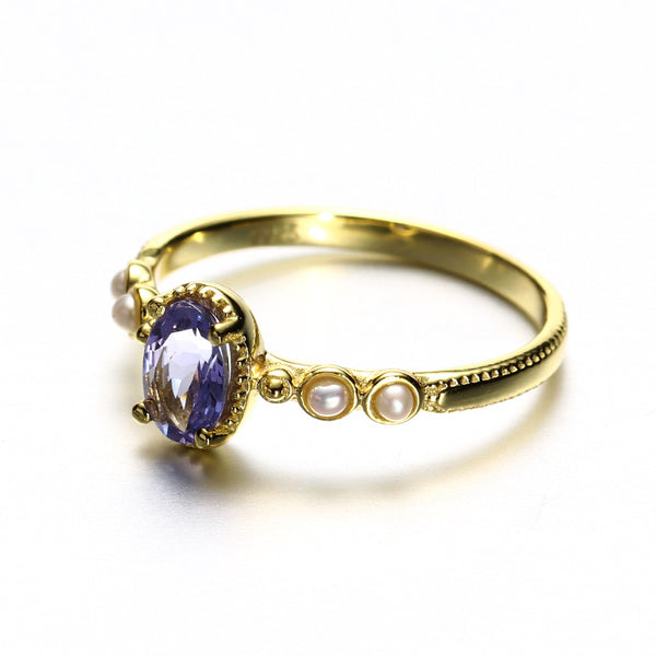 Juri Elle Purple Tanzanite Sterling Silver Ring With Pearls-DL-Juri Elle