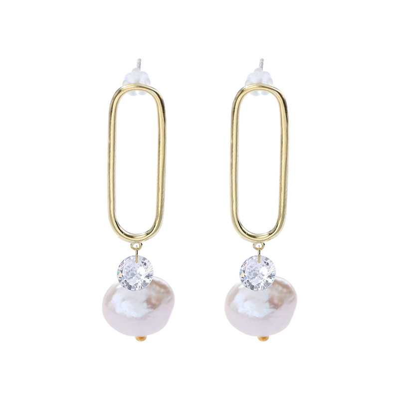 Paperclip Baroque Pearl Sterling Silver Plated Gold Earring