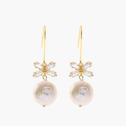 Sweet Bow Baroque Pearl Sterling Silver Plated Gold Earring