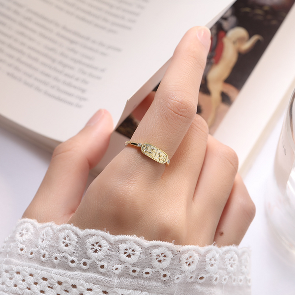 Adjustable Golden Round Cut Sterling Silver Plated Gold Ring