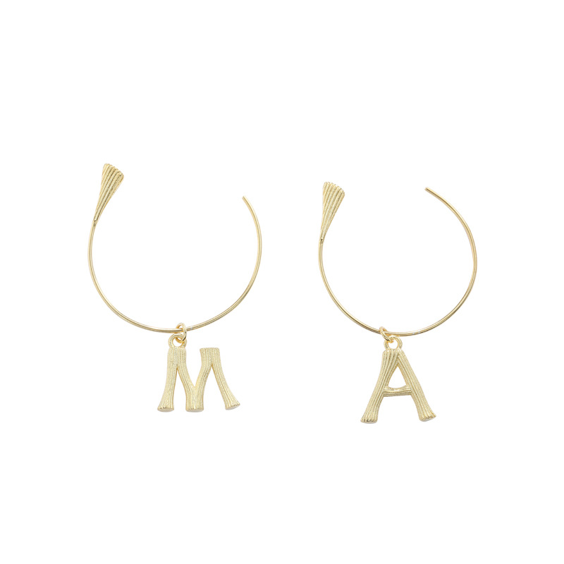 Personalized Letter Sterling Silver Plated Gold Earring