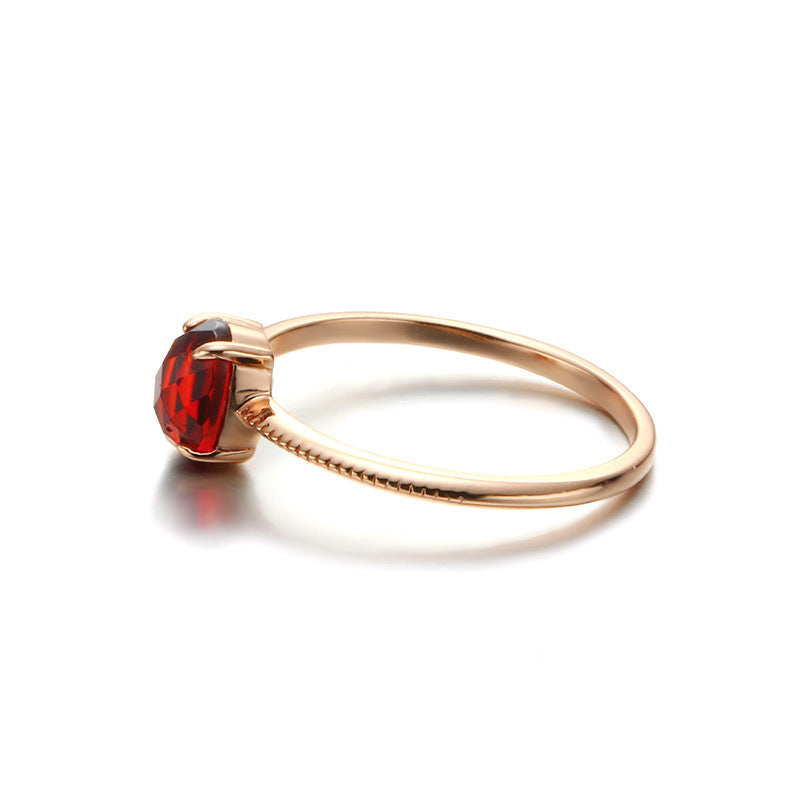 Simple Red Garnet Sterling Silver Ring-DL-Juri Elle