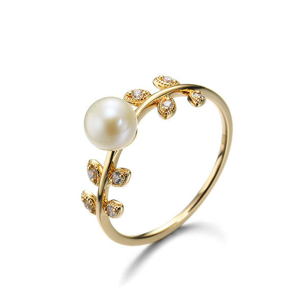 Leaf Shape Sterling Silver Ring With Pearl-DL-Juri Elle