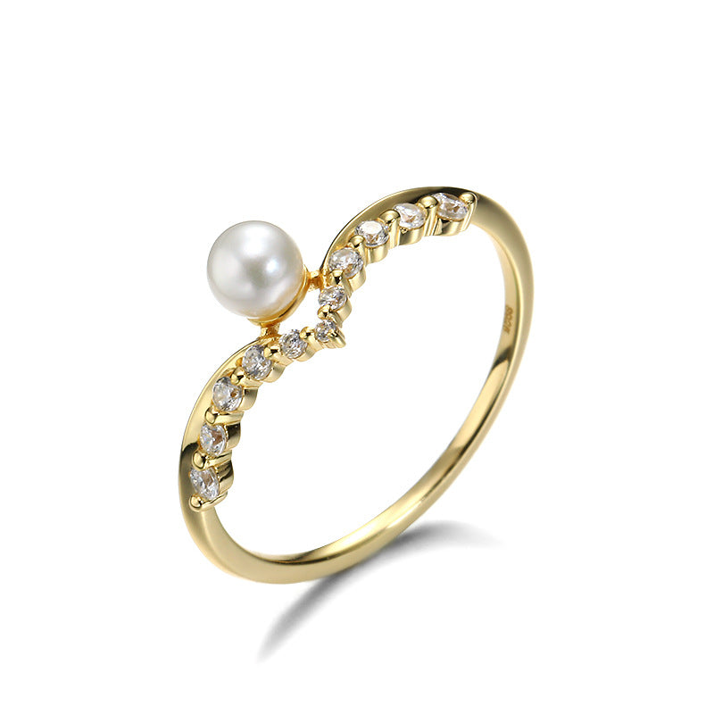 Crown Shape Sterling Silver Ring With Pearl-DL-Juri Elle