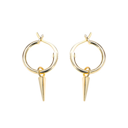 Retro Trend Cone Sterling Silver Plated Gold Stud Earring