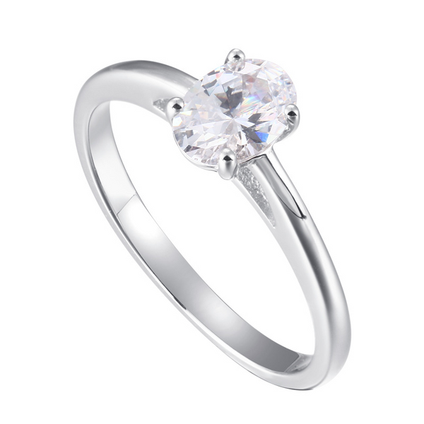 Solitaire Oval Cut Sterling Silver Ring-TL-Juri Elle