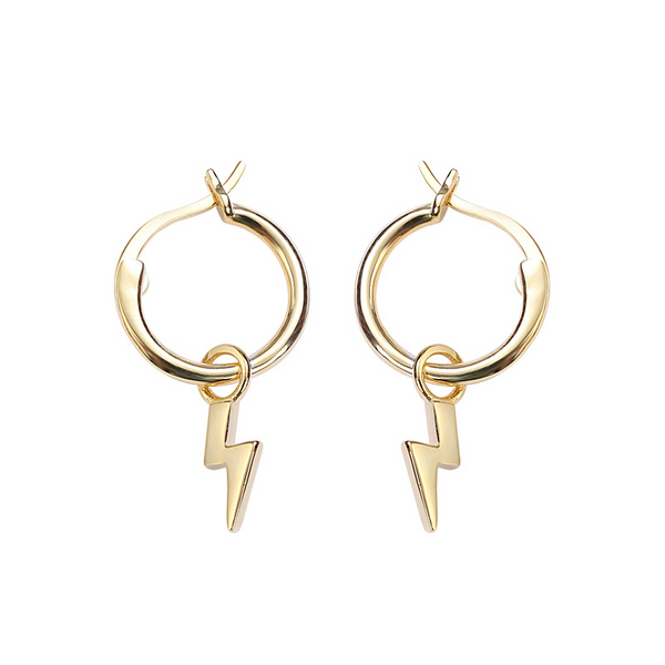 Lightning Sterling Silver Plated Gold Earring